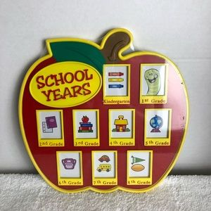 APPLE SHAPED SCHOOL YEARS PICTURE FRAME SET OF TWO